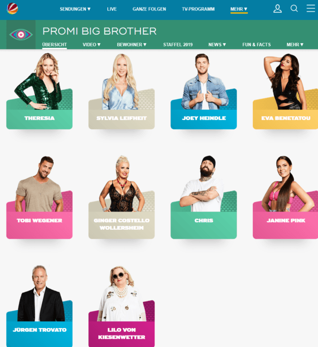 PBB-Kandidaten (Screenshot sat1.de/tv/promi-big-brother)