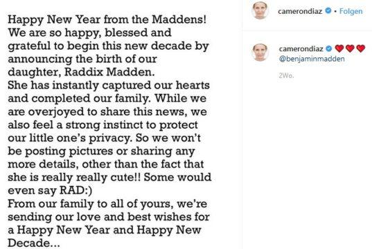 Cameron Diaz: Babynews! (camerondiaz/Instagram)